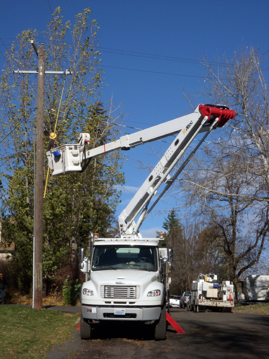 Avista working on power lines.