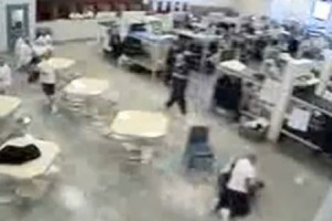 James Haver attacks Hanni Elabed as Guards Watch at Idaho Correctional Center